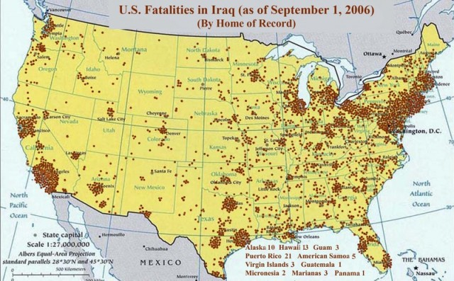American fatalities in Iraq geographic map